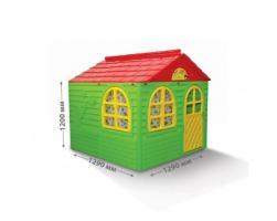 Детский игровой домик DOLONI квадратный с карнизами и шторками, большой