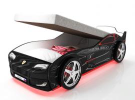 Кровать-машинка Турбо черная с подъемным механизмом