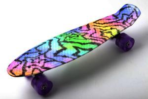 Скейтборд пластиковый Adio YB104, 22' светящиеся колеса, принт