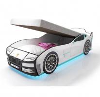 Кровать машина Турбо Белая с подъемным механизмом