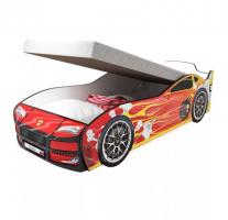 Кровать машина Турбо Красная с подъемным механизмом