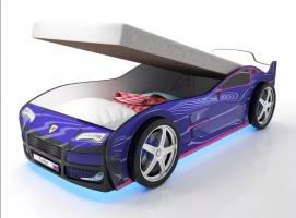 Кровать машина Турбо Синяя с подъемным механизмом